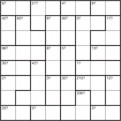 Mystery Calcudoku 8x8 puzzle