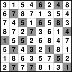 Solved Hitori puzzle